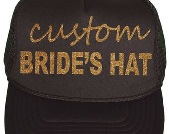 personalized gold glitter BRIDE baseball cap . Bridal party baseball caps - snap back baseball hats-  gold glitter bride hats - CUSTOM