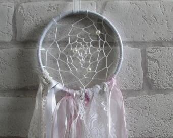 White & Pink Dream Catcher, Shabby Chic, Vintage, Lace, Ribbon, Spiritual, Nursery, Handmade, Window Decoration