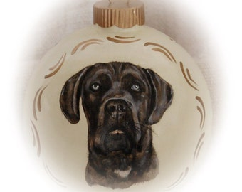 Custom pet portrait paintings - realistic dog portrait on 4 inch ornaments, hand painted Christmas and memorial portrait
