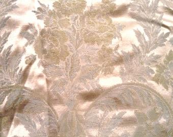 Aqua Satin Damask Fabric