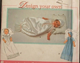 Baby Size NB 3, 6, 12, 18 Months Simplicity 8100 Christening Gown Slip Bonnet  Boys Girls New Born Infant Sewing Pattern Sew Uncut