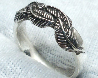Leaf Ring, Hand Crafted Recycled Sterling Silver, 5 European Beech Leaves on handmade 4 mm silver band