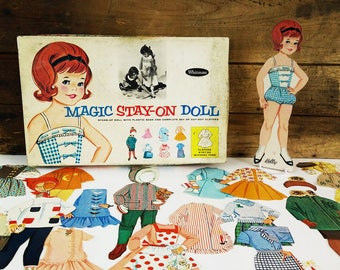 1963 Whitman Magic Stay-On Doll paper doll with clothes