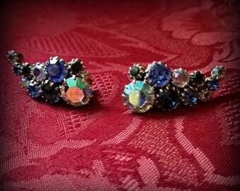 Elegant Blue Rhinestone Clip On Earrings