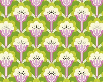 Nicey Jane Slim Pop Blossom in Green by Heather Bailey - Half Yard