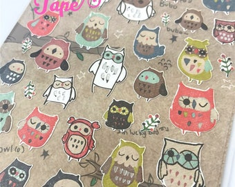 Owl Stickers Set Deco 1 Sheets by Funny SS550