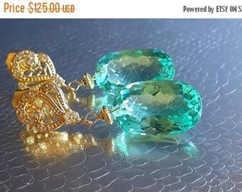20% Off Mothers Day Sale New! Mint Green Quartz Paisley Cz Swirl Post Earrings Bridal Earrings