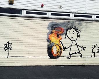Banksy Art Print  - Burning Tire - Multiple Paper Sizes