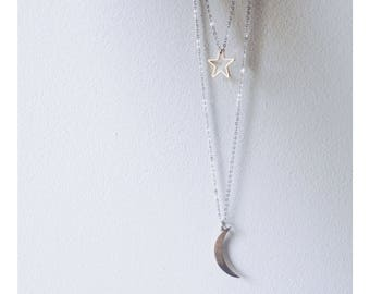 Minimalist Geometric Moon & Star Necklace Layer Set