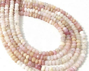 Pink Opal, 3mm - 4mm, Rondelle, Microfaceted, Pink, White, Yellow, Natural Gemstone Beads, Untreated, Very Small, 13 Inch Strand - ID 2317