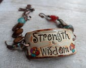 Strength and Wisdom Boho Bracelet Artisan Bracelet Beaded Bracelet Unique handmade bracelet