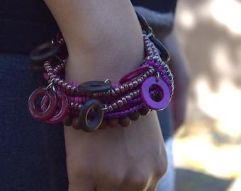 Layered bracelet vintage bohemian jewelry purple brown magenta beaded bracelet gypsy bracelet gift for her summer jewelry