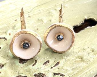 Handmade Porcelain Gold Cornflower Blue Crystal Earrings FREE SHIPPING