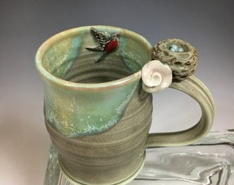 Birds Nest and Robin Handmade Porcelain Coffee Mug Matte Green