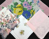 Assortment Vintage Hankies Leaves Flowers Pink Blue White Yellow Linen Cotton Hand Rolled Hem Corded Edges Very Good to Excellent Condition