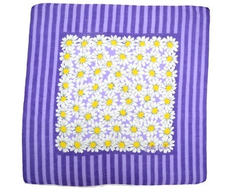 VINTAGE DESIGNER HANKIE Sally Victor Purple Tonal Stripe White Daisies on Lavender Field White Hand Rolled Hem Signed Excellent Condition