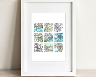CUSTOM Nine Square Map Art Print. Print Only. You Select 9 Cities Worldwide And Your Personaized Text. Travel Gifts For Him or Her. Wedding.