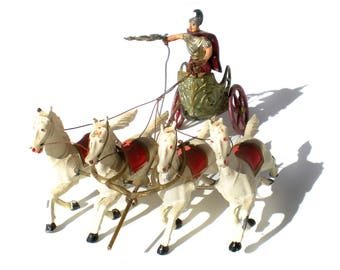 Heyde Spenkuch Roman Soldier Chariot with Horses Painted Cast Lead 20s 30s Early Antique Toy Soldier