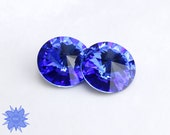 Swarovski 1122 12mm or 14mm Crystal Rivoli, Sapphire Blue, Bold Primary Color, Faceted Crystal Stone No Hole Beading Supply, 2 Pack Blue