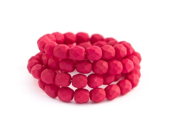 Round Spacer Beads, Saturated Fuchsia Rose, Dark Pink, Matte Opaque, Fire Polished Faceted Czech Glass, 4mm x 50pc