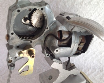 Sci Fi Mosquito- Found Object Robot- Junk Art Assemblage- Sculpture