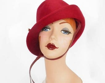 Vintage fedora hat, 1960s red velvet