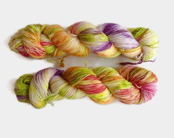 "Fingering merino single ply hand dyed yarn - 100% superwash merino, The Special One base - Colourway ""Radioactive"""