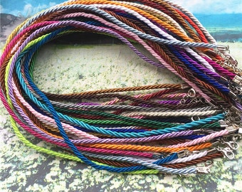 30pcs 17-19 inch 3mm thickness braided assorted(more than 20 colors) satin twist necklace cords with lobster clasps and extender