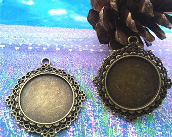 HEAVY --4pcs  46mm antiqued bronze plated  flower round bezel pendant blanks(fit 30mm cabochons)