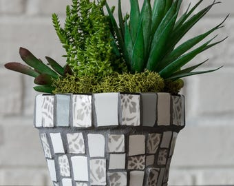 Mosaic Gray and White Planter One of a Kind Ready To Ship