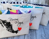 10+ LINED Mexico Country Outline with Heart Custom Destination Wedding Welcome Canvas Market Beach Tote Bags