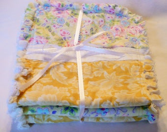 Baby Girl Burp Cloth Set of 3- Cottage Chic Roses Shabby Yellow Pink and White Flowers Cotton Chenille Rag Quilted