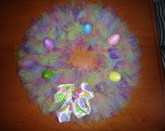 Extra Full Easter Wreath with bow and glitter eggs