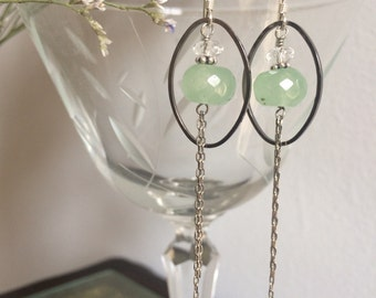 Silver Ring Earrings with Chalcedony