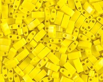 5-25 grams, Miyuki, Half Tila Beads, 2 hole, 5x2.3x1.9mm, OPAQUE YELLOW, (HTL-404), (ht2), opaque, yellow, Beadweaving, Beading, Jewelry