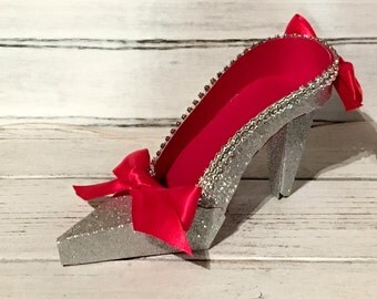Paper Shoe Keepsake, Red and Silver Glitter High Heel Paper Keepsake Shoe, Art Sculpture, Decoration, Original Design