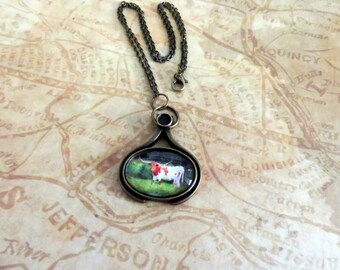 Texas Longhorn Steer Antique Bronze Oval Pendant Cabochon Necklace