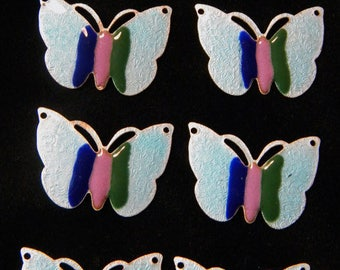 Vintage Guilloche Light Blue Enamel Butterfly Connector with Stripes - Set of 7