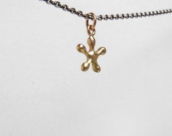 14k gold necklace modern gold flower necklace petite mod 14k gold charm necklace fine jewelry solid gold necklace petite gold necklace