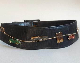 1950s novelty belt 1950s leather belt cars and roadsters car show pinup belt 50s belt 1950s leather belt corset belt cinch belt wide belt