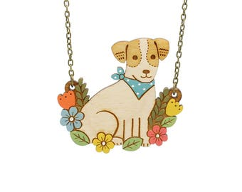 Jack russell necklace ~ hand painted laser cut dog necklace