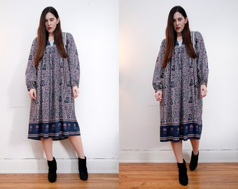 Vintage Indian Cotton Boho Dress Balloon Sleeve Hippie Dress Ethnic Floral Cotton Dress 70's