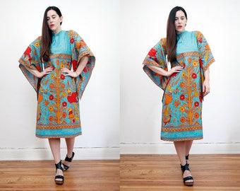 Vintage Kaftan Paradise Print Cotton Hippie Batik Ethnic Kaftan Caftan Boho Maxi Dress Rare.