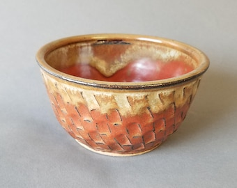 Noodle Bowl Hand cut Texture Soup Cereal in Red Brown Earth Tones