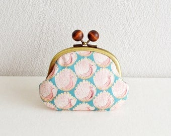 Frame purse with wooden balls -Liberty - Peacocks - cotton, blue, aqua, pink