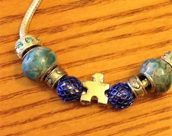 Autism Blue Puzzle Pandora bracelet