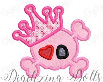 Princess Skull Heart Applique Machine Embroidery Design 4x4 5x7 6x10 Cross Bones Girl Heart Patch INSTANT DOWNLOAD