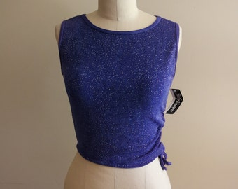 Deadstock Vintage Sparkly Glitter Work Out Dance Tank - Size XL - Body Wrappers - Made in USA