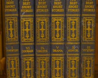 Antique 1920s Book Set of 6 The World's One Hundred Best Short Stories Funk and Wagnalls 1927. The Well Read Home...Home Decor Book Set