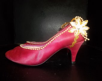 Upcycled Red Violet Pumps with Poinsettias